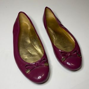 Coach Dotty Patent Leather Flats Bow Ties Size 6.5